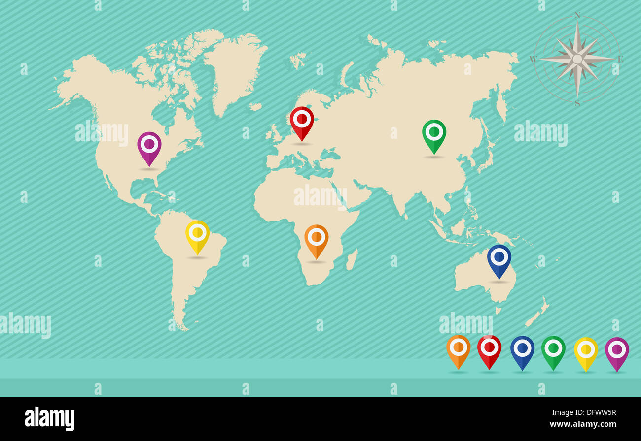 Worldwide location concept design. GPS pointers in multiple countries and continents. EPS vector. - Stock Image
