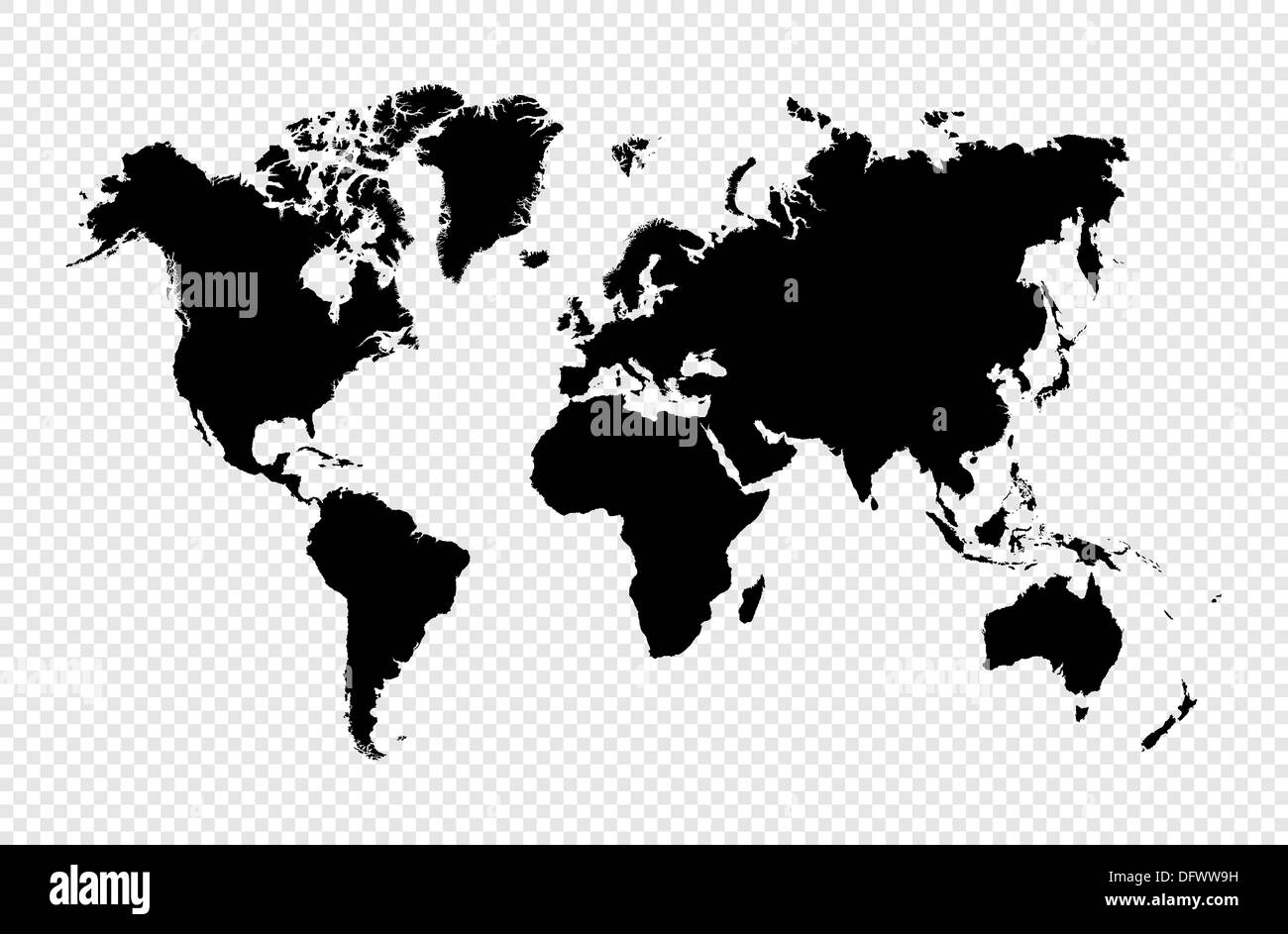 Black silhouette isolated World map. EPS10 vector file organized in layers for easy editing. - Stock Image