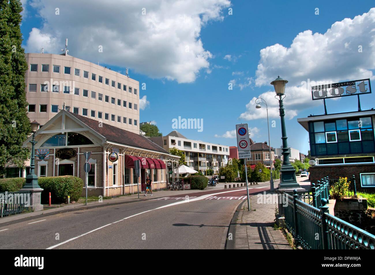 Restaurant Boulevar Amsterdam Zeeburg Netherlands Dutch modern city town - Stock Image