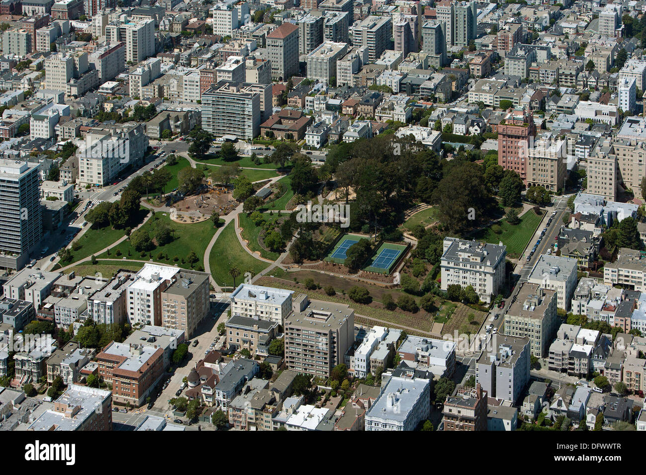 aerial photograph Lafayette Park, Pacific Heights, San Francisco - Stock Image