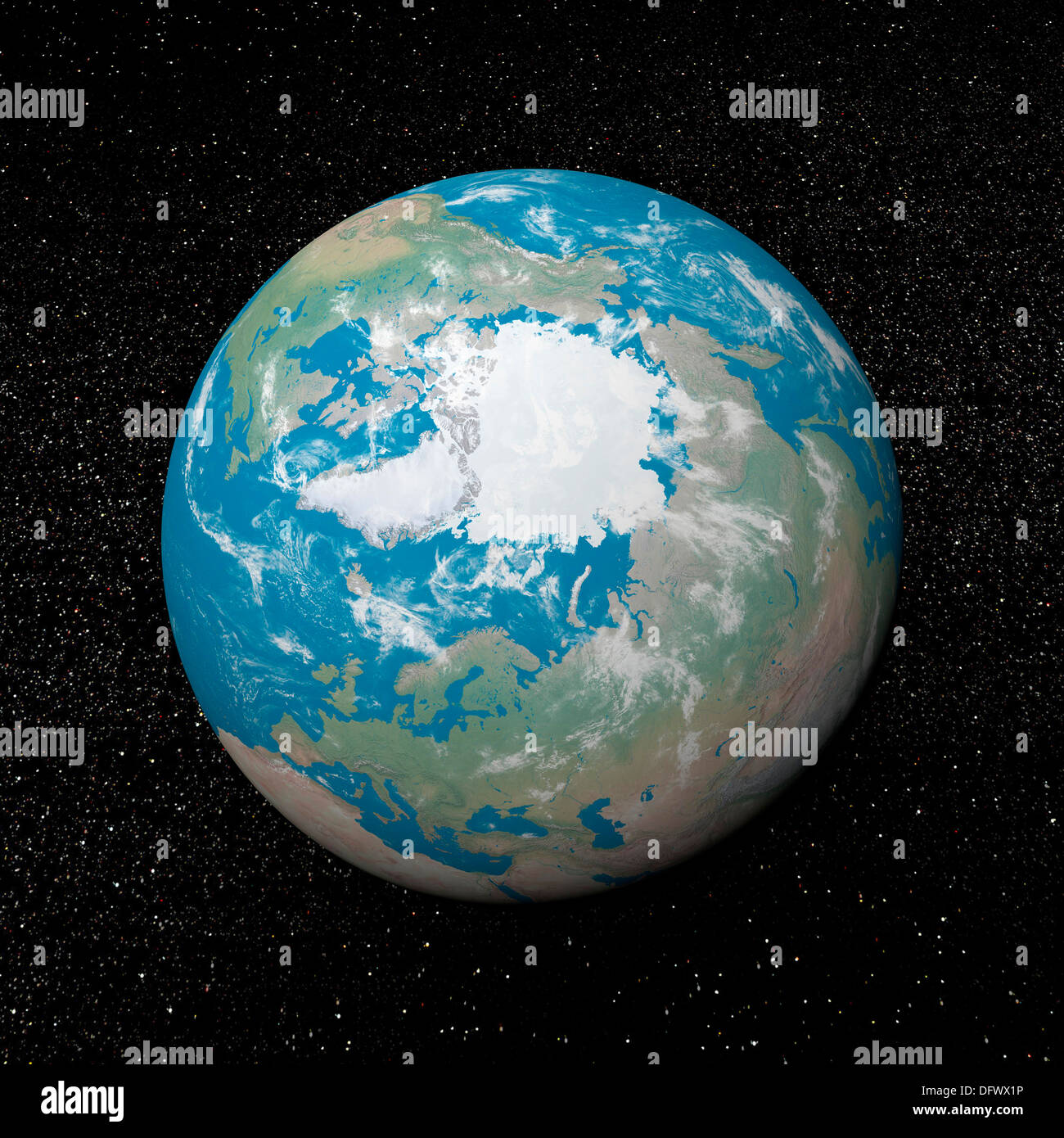 3D rendering of planet Earth centered on the North Pole, starry background. - Stock Image