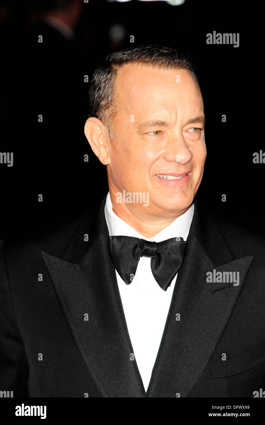 Tom Hanks  attends the 57th BFI London Film Festival; Captain Phillips - Opening Gala at The Odeon Leicester Square London. - Stock Image