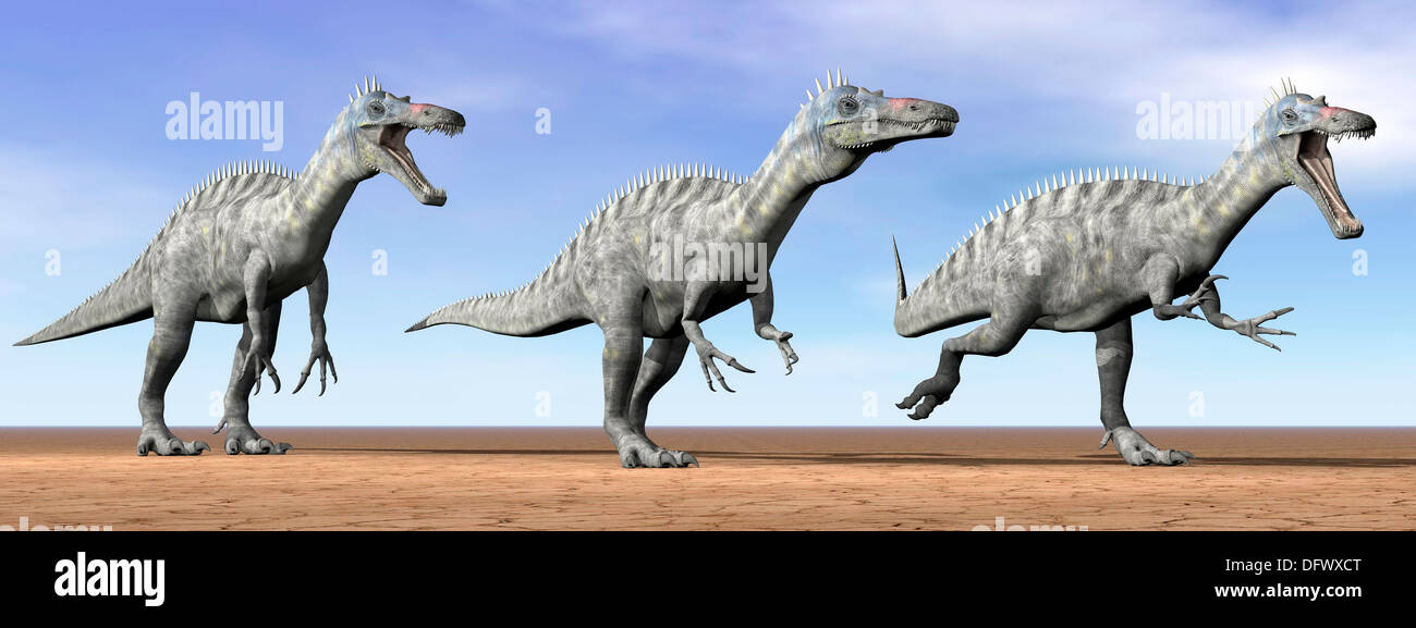 Three Suchomimus dinosaurs standing in the desert by daylight. - Stock Image