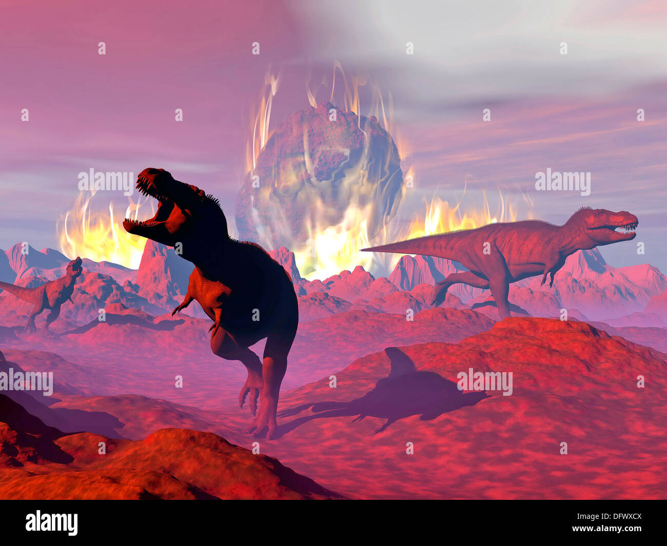 Tyrannosaurus Rex dinosaurs escaping the heat and fire of a big meteorite crash. - Stock Image
