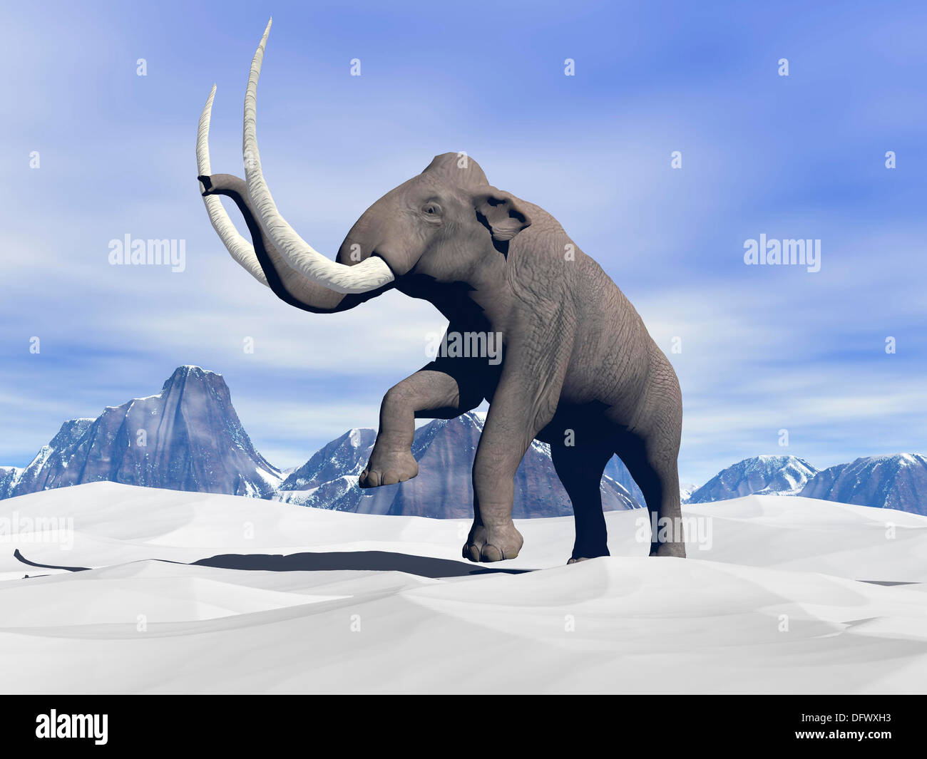 Large mammoth walking slowly on the snowy mountain. - Stock Image