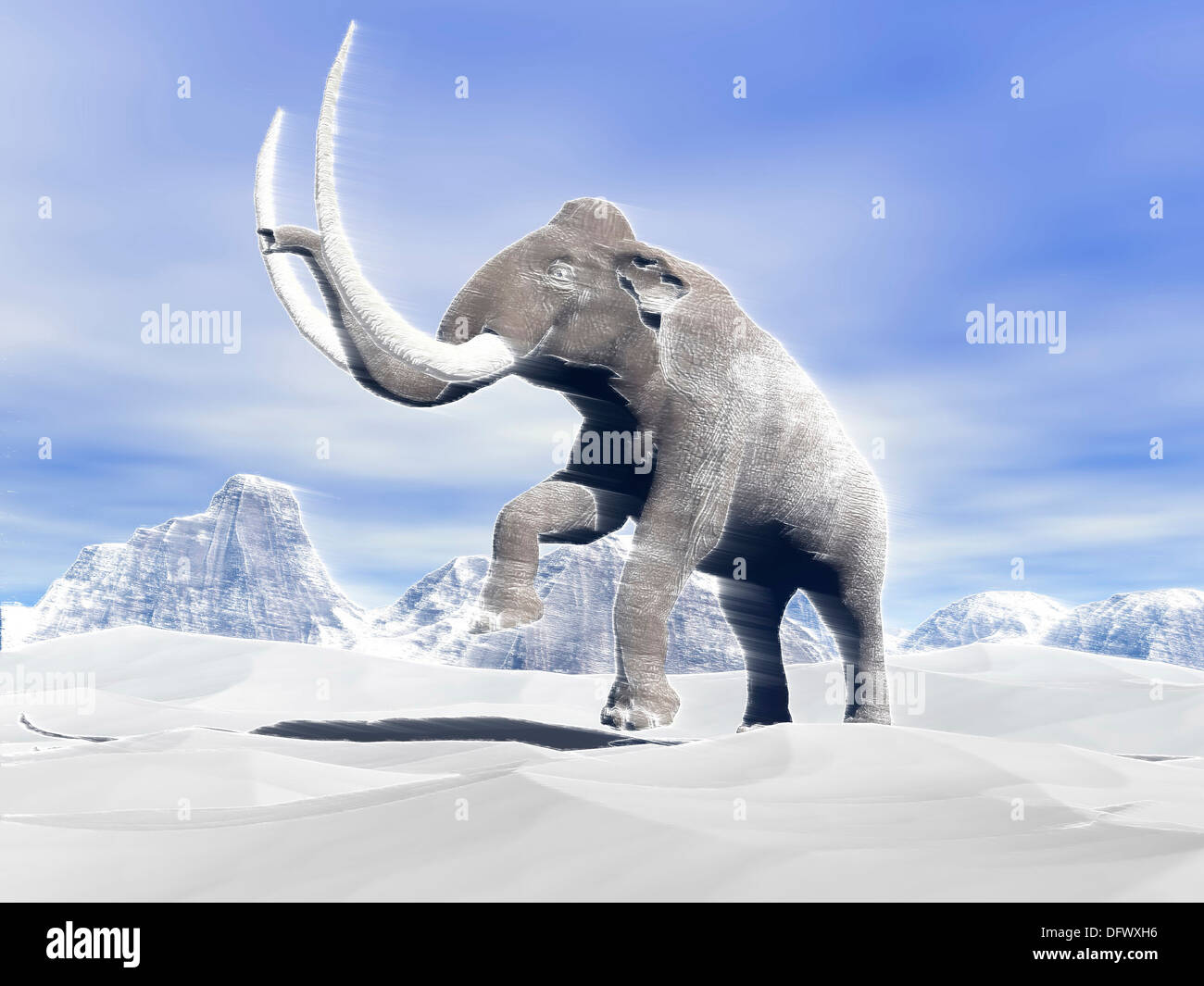 Large mammoth walking slowly on the snowy mountain against the wind. - Stock Image