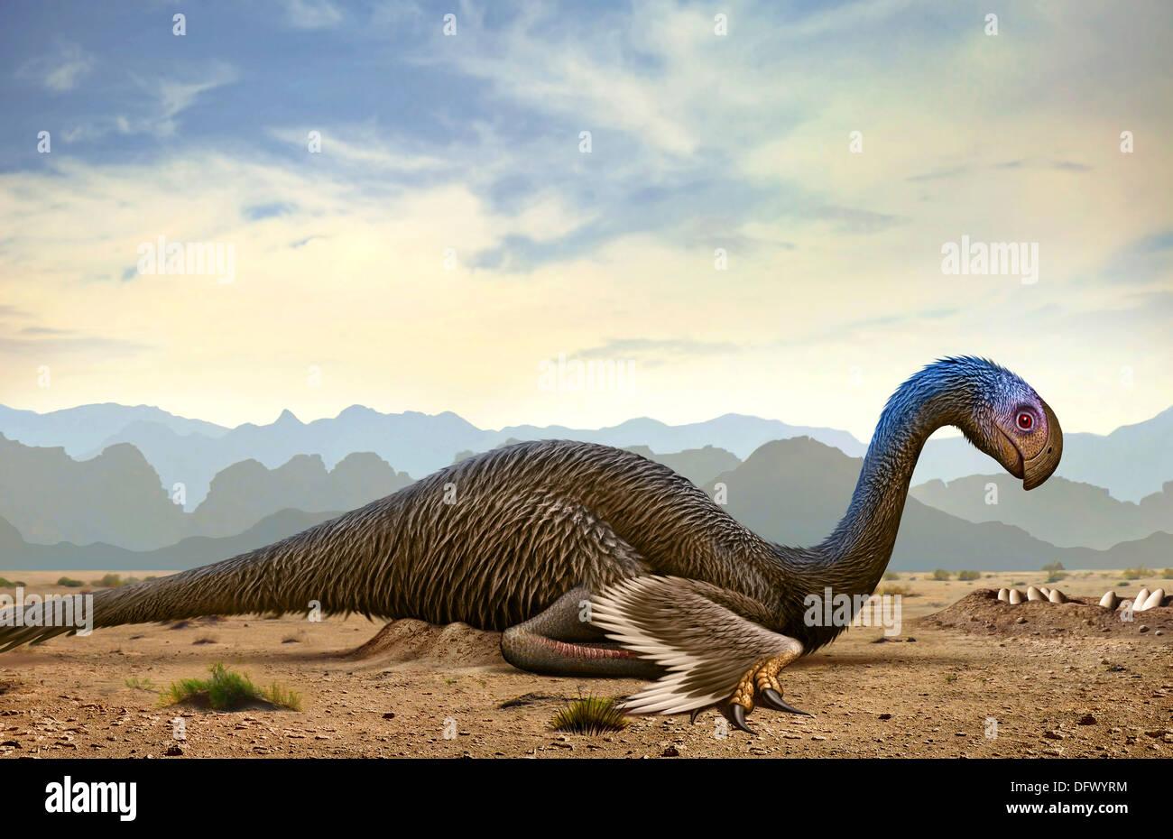 Gigantoraptor, a genus of giant oviraptorosaurian theropod dinosaur from the Cretaceous Period. Stock Photo