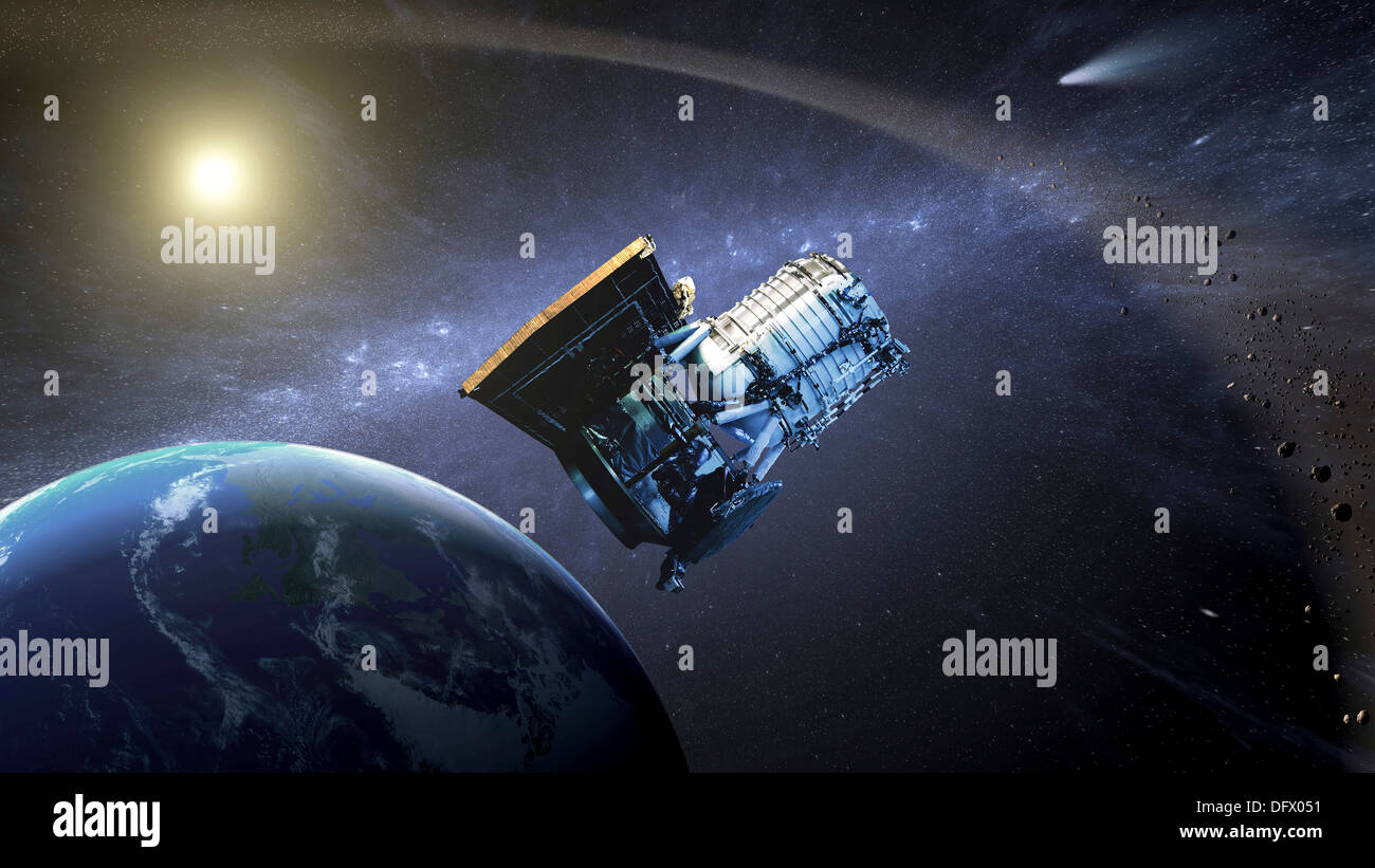 Artist's concept of the Wide-field Infrared Survey Explorer spacecraft. - Stock Image