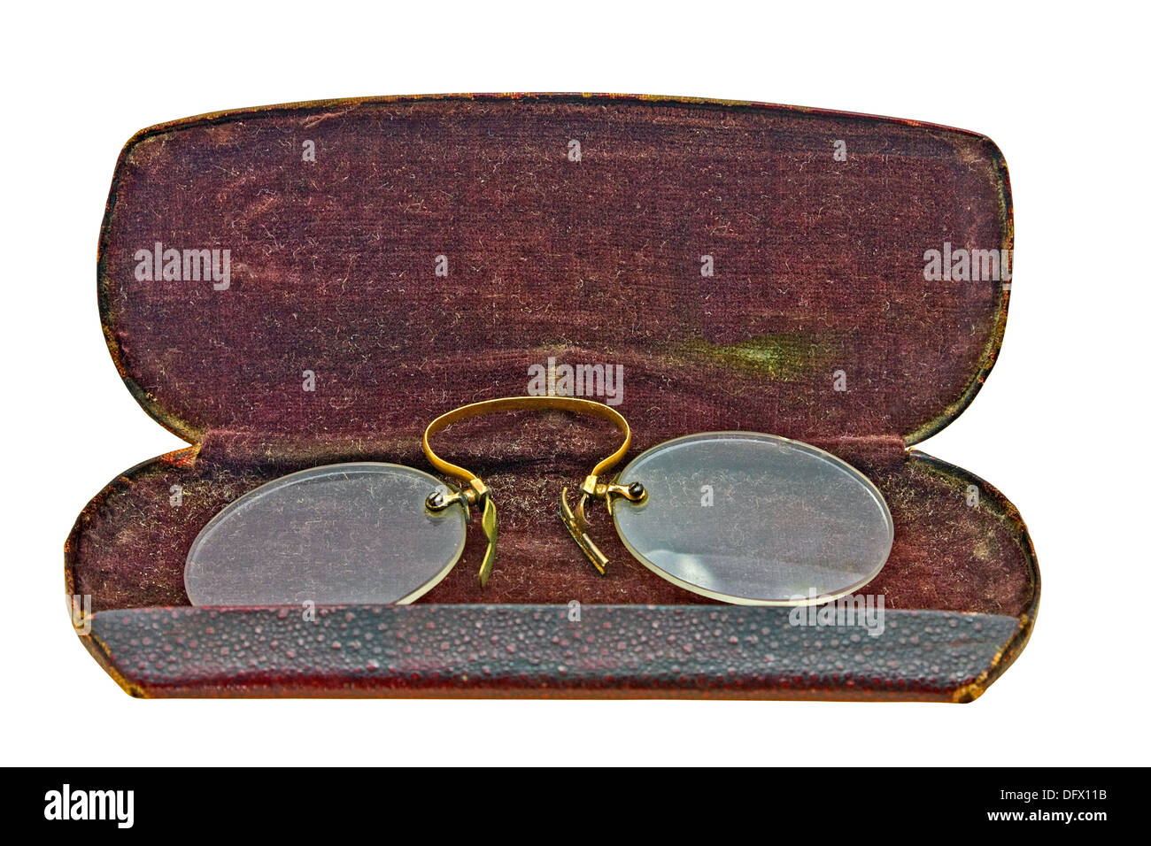 vintage pince nez in leather case isolated over white background, clipping path Stock Photo