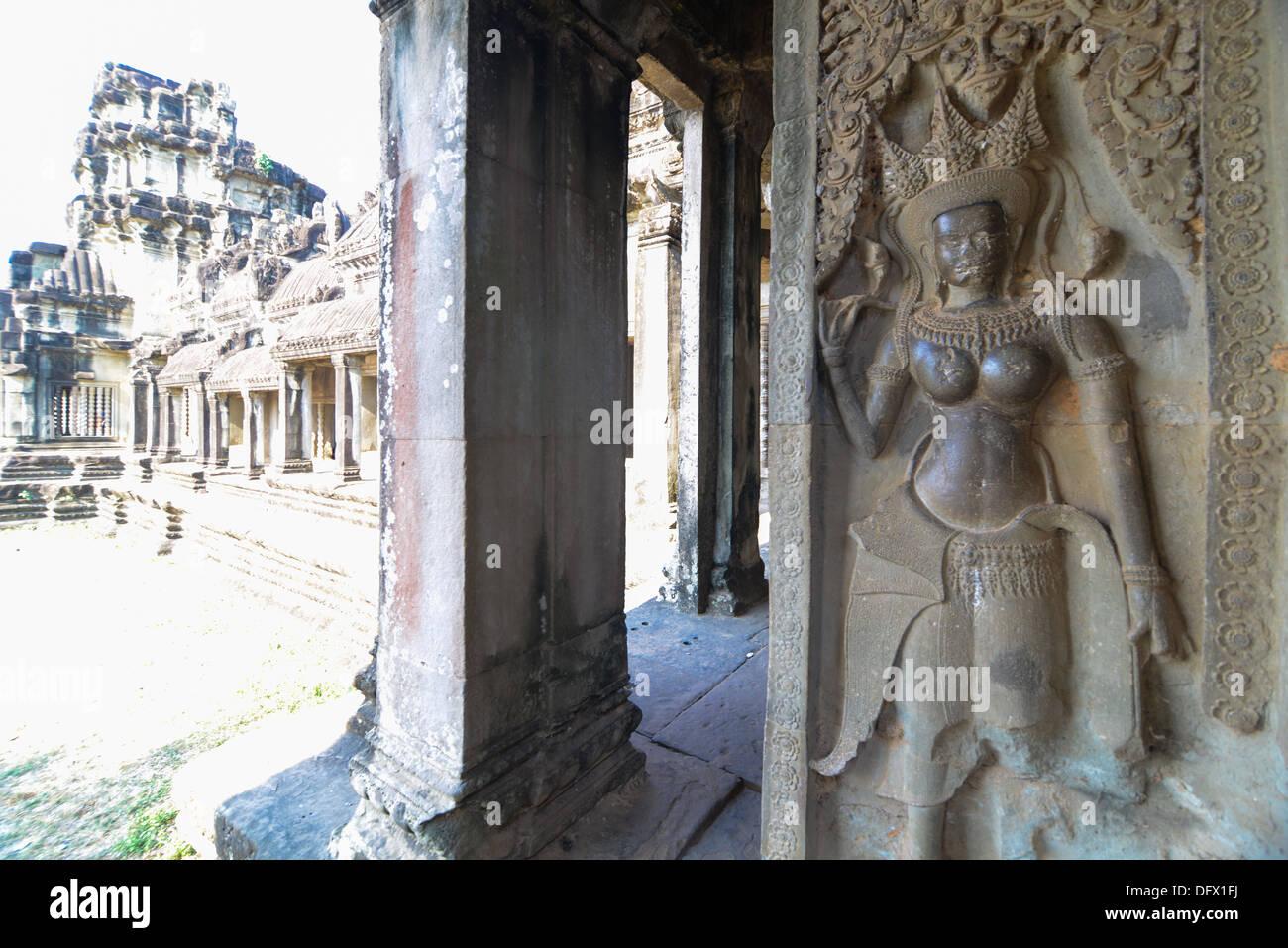 The corridor near apsara Relief statue in Cambodia Angkor Wat, Cambodia Stock Photo