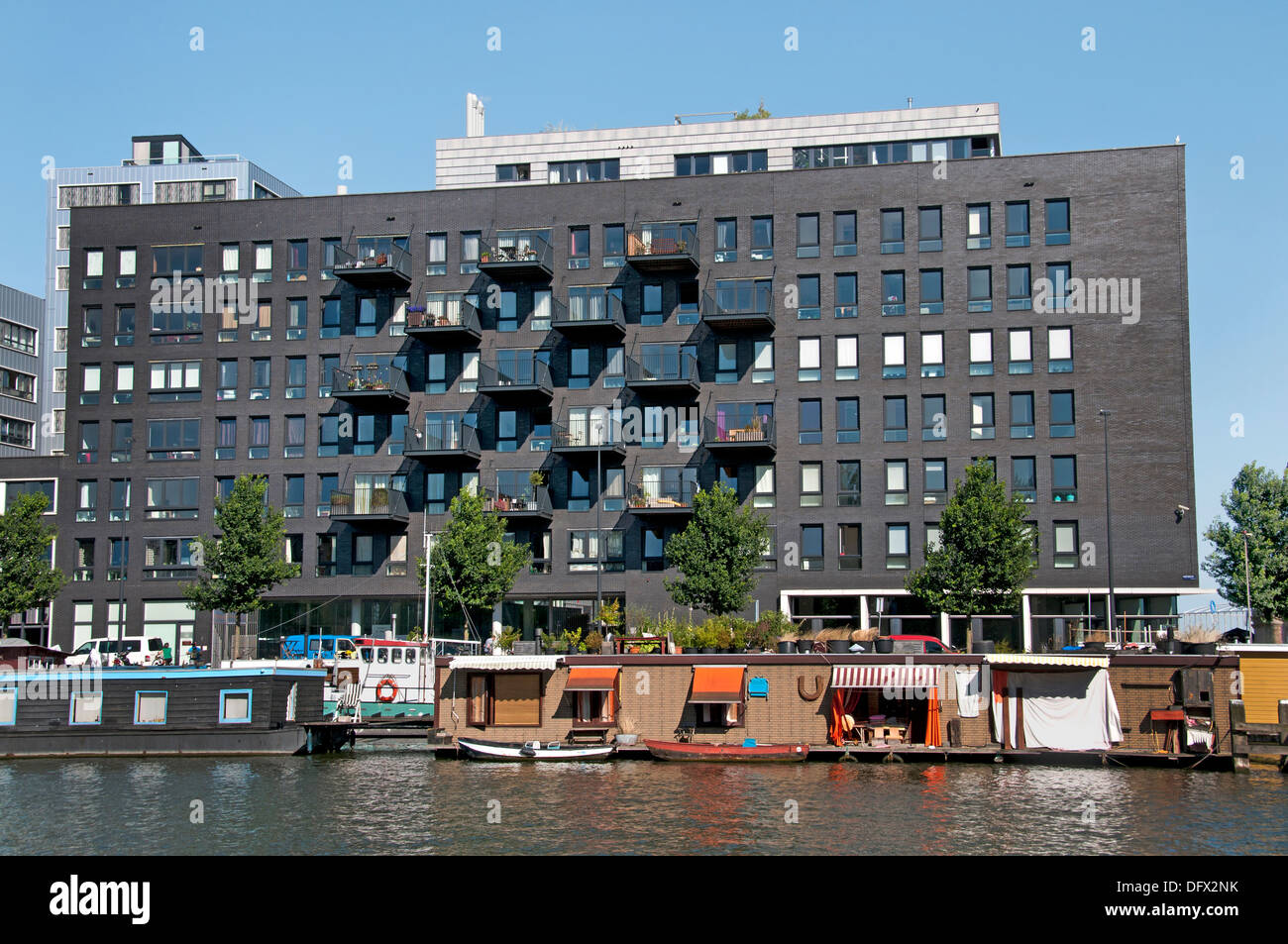 Westerdok Amsterdam Netherlands Dutch modern city town  house boat houseboat - Stock Image