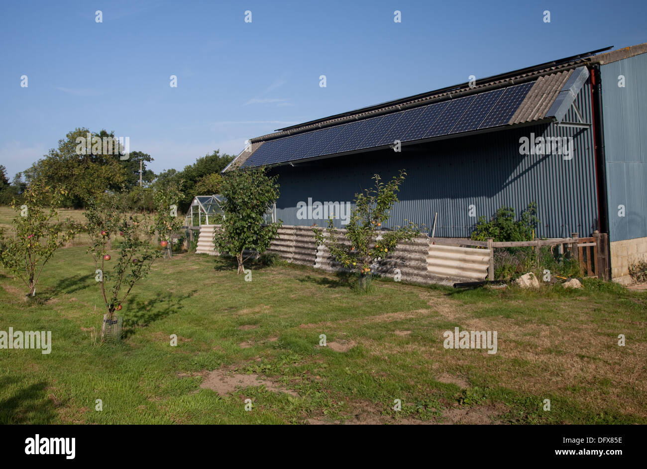 PV photovoltaic panels on roof of steel barn new eco build Mickleton UK - Stock Image