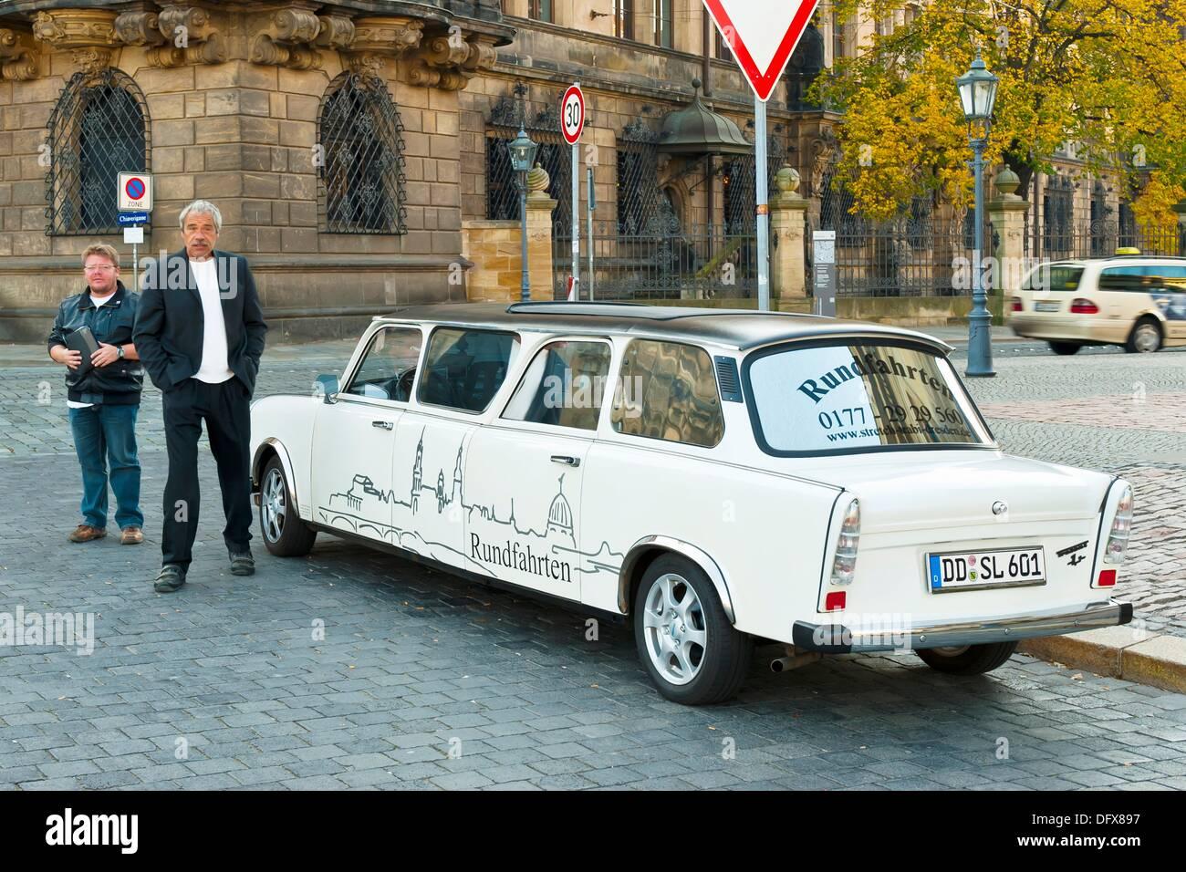 Trabi Limousine, Theaterplatz, Dresden, Saxony, Germany - Stock Image