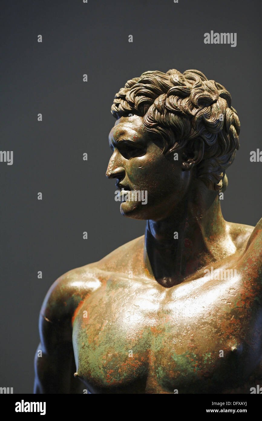 The bronze statue of a Hellenistic prince , Palazzo Massimo alle Terme, National Museum of Rome, Italy - Stock Image