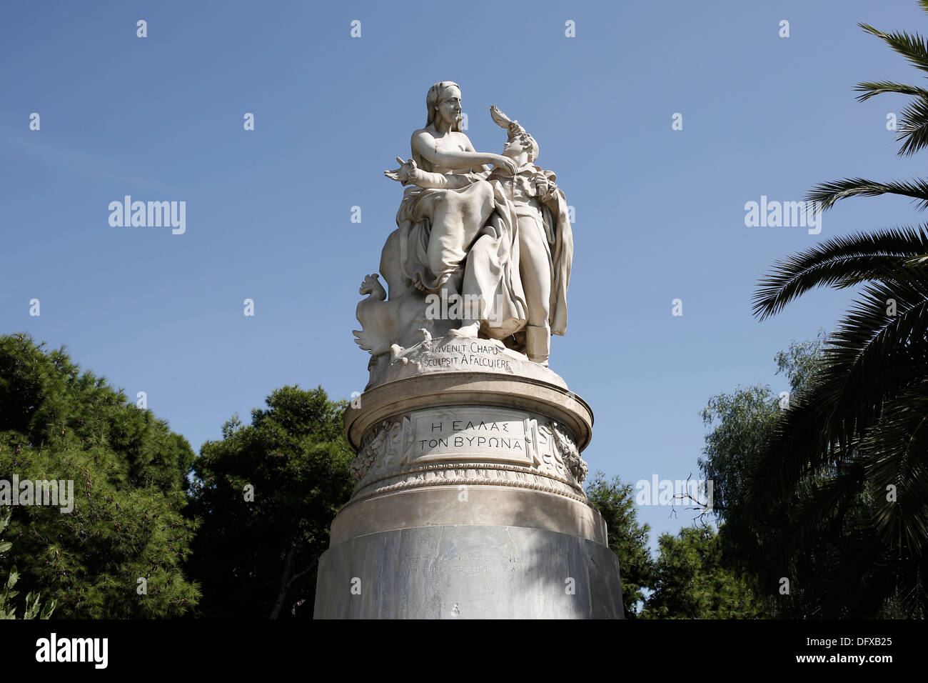 Known as the 'Statue of Byron'. This sculpture composition represents Greece crowned Lord Byron. Athens, Greece on Oct. 2013 - Stock Image