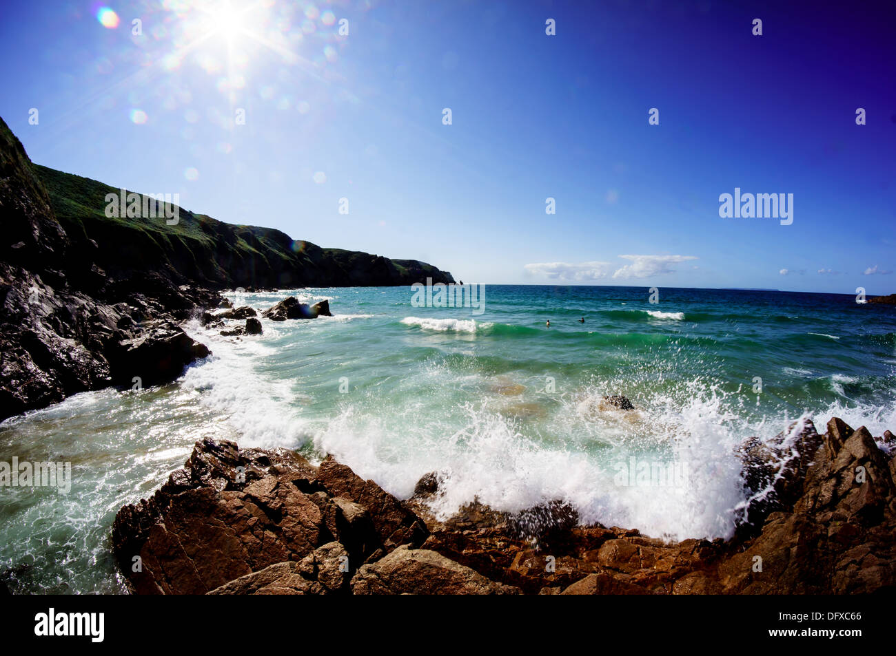 The Waves crashing on the rocks at Plemont beach Jersey Channel Island - Stock Image