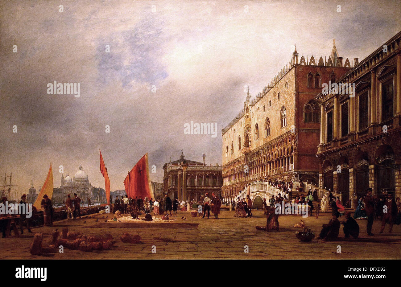 Rudolf von ALT - A view in Venice with the Doge´s Palace and the Ponte della Pagalia - Museum of Fine Arts - Budapest, Hungary. - Stock Image