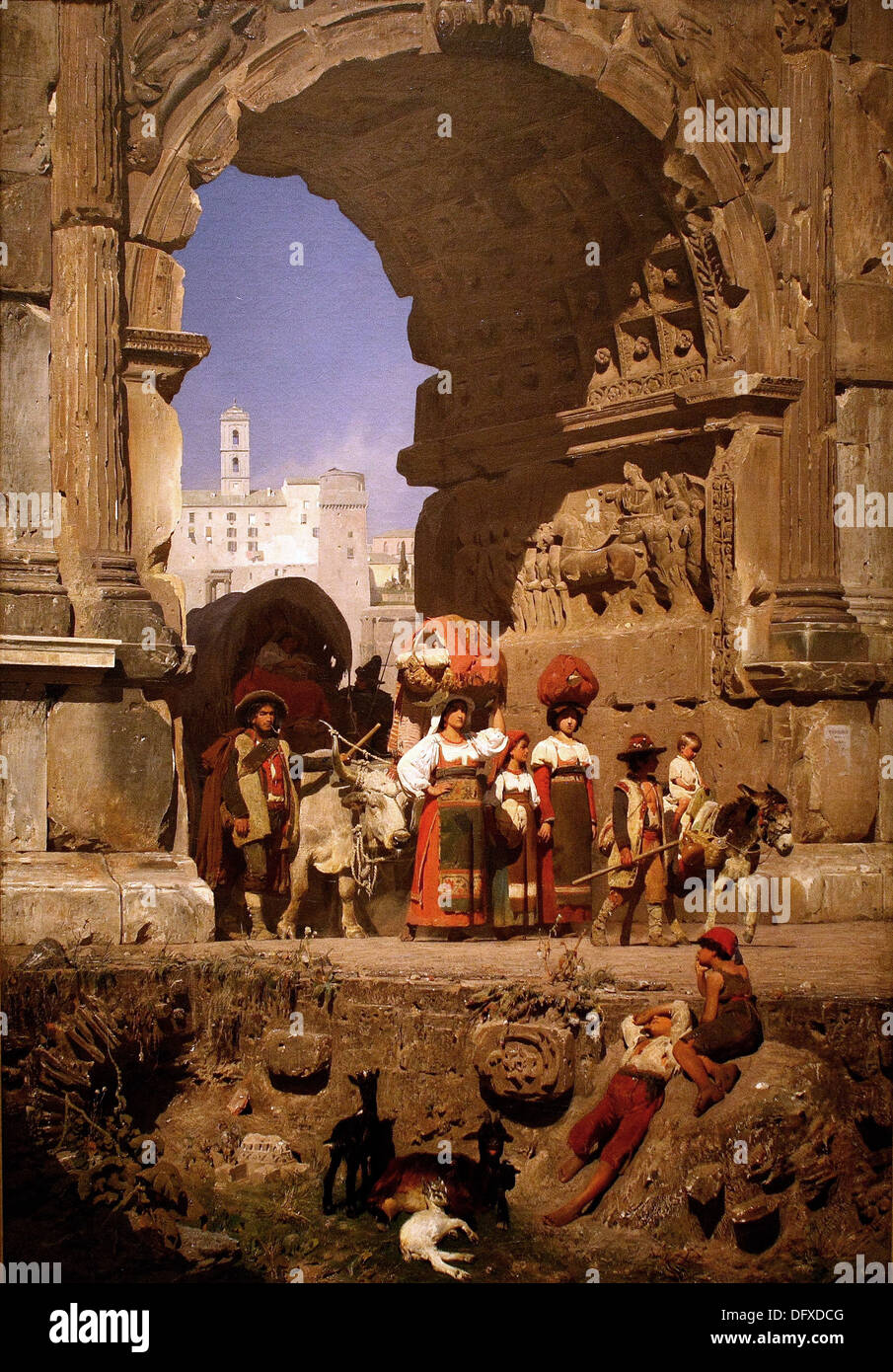Franz von LENBACH - The Triumphal Arch of Titus in Rome - 1860 - Museum of Fine Arts - Budapest, Hungary. - Stock Image