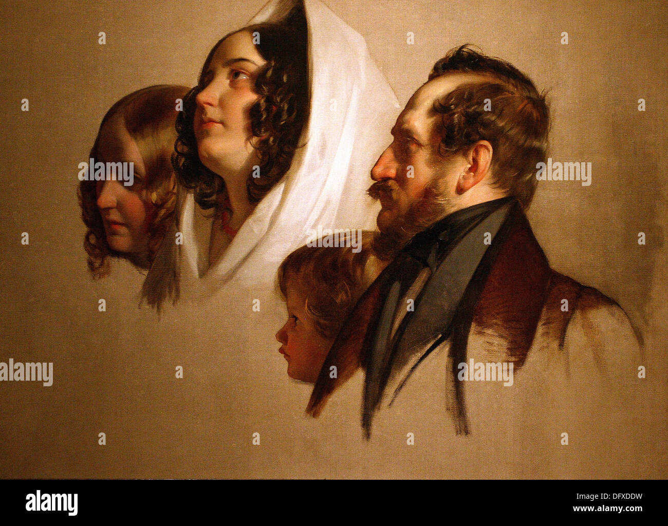 Friedrich von AMERLING - Portrait studies - 1830 - Museum of Fine Arts - Budapest, Hungary. - Stock Image