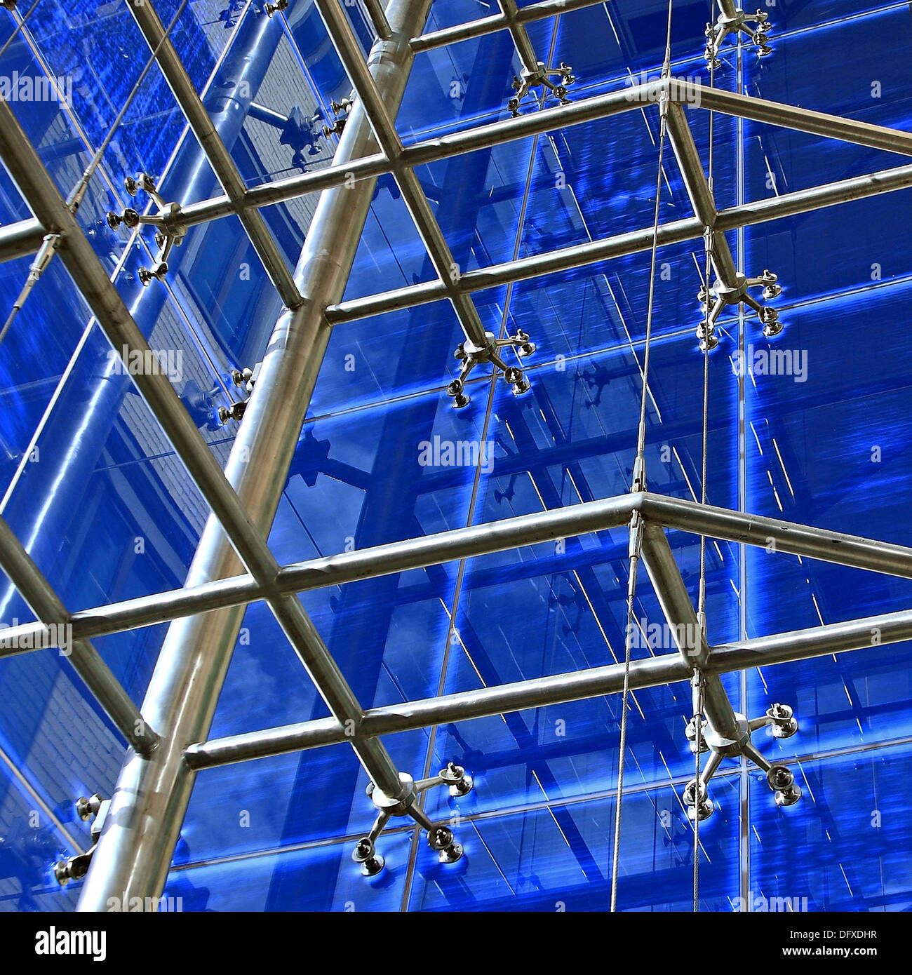 Atrium structural detail in office building, Grand Canal Plaza, Dublin 4, Ireland - Stock Image