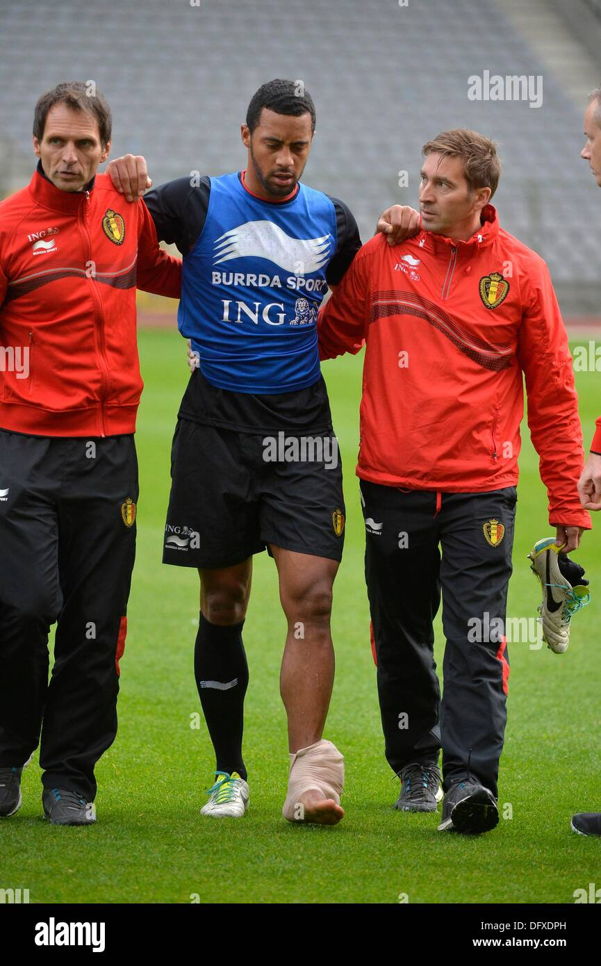 Brussels, Belgium. 09th Oct, 2013. Moussa Dembele during training ahead of the World Cup Qualifier against Croatia. Credit:  Action Plus Sports/Alamy Live News - Stock Image