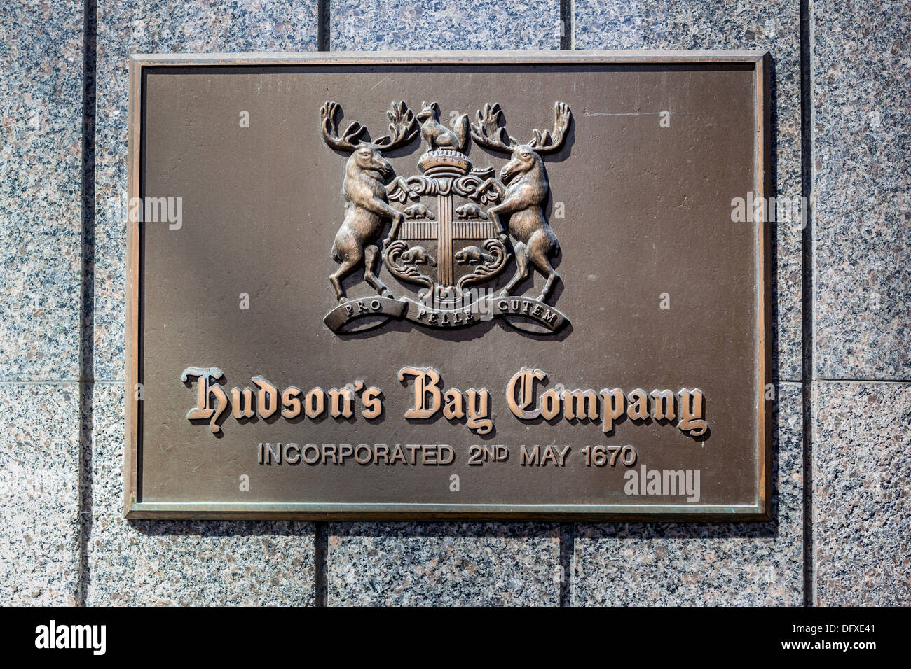 Hudson's Bay Company brass plate and Coat of Arms on Queen Street Building, Toronto - Stock Image