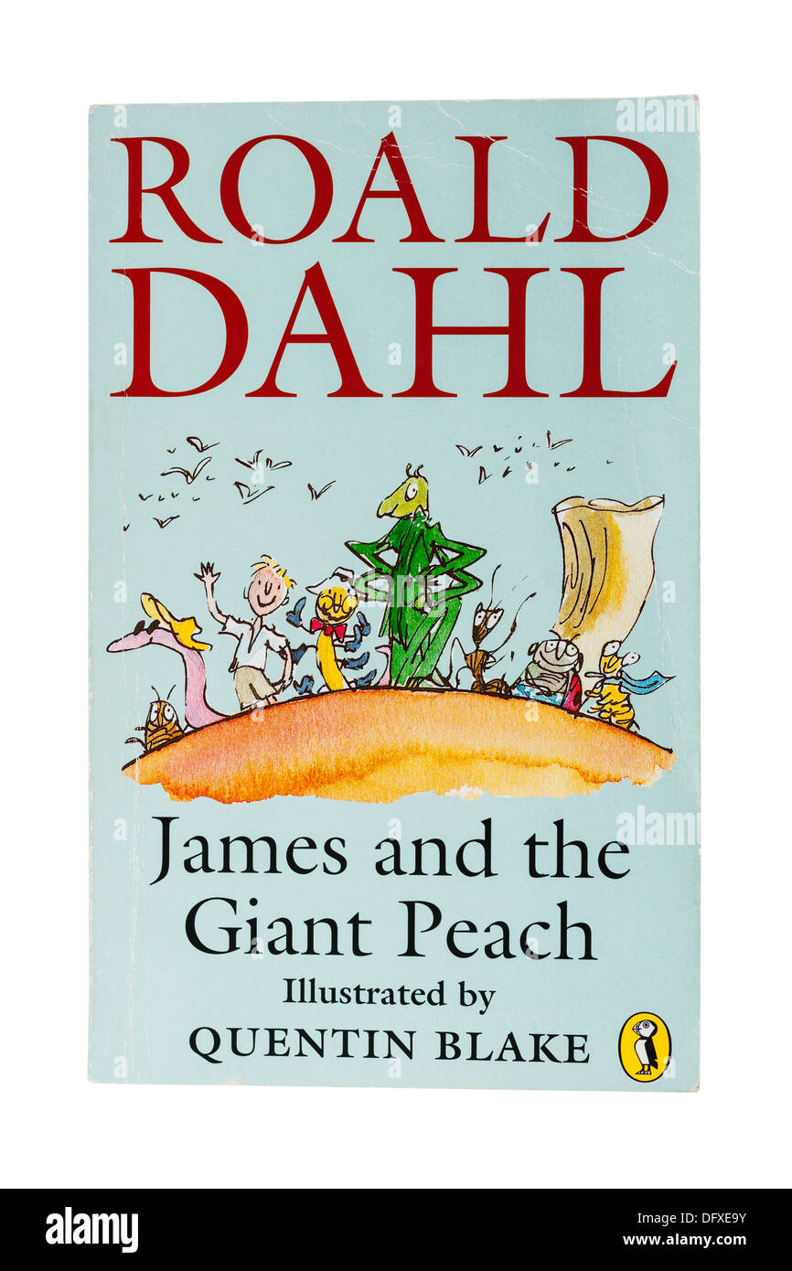 A Roald Dahl childrens book called James and the Giant Peach on a white background - Stock Image