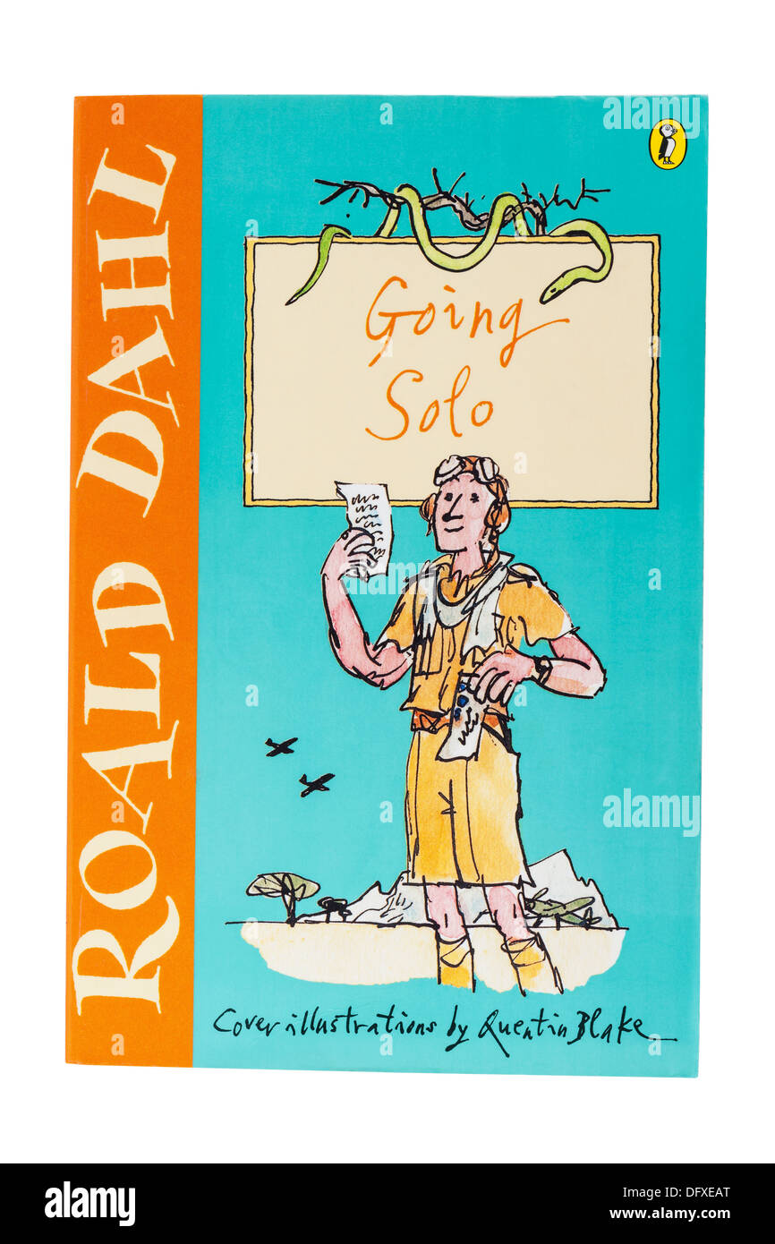 A Roald Dahl childrens book called Going Solo on a white background - Stock Image