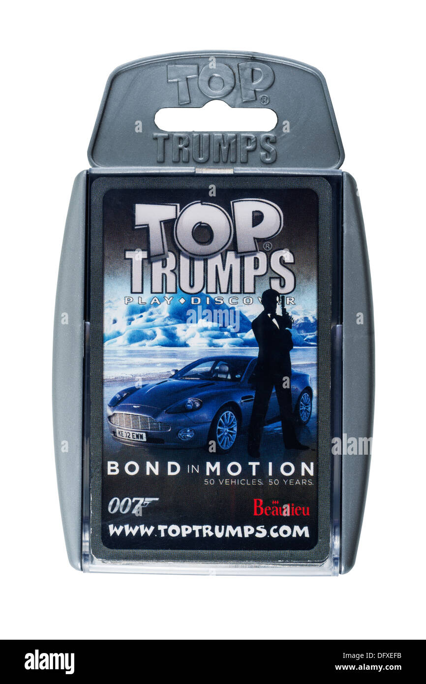 A childrens card game of Top Trumps with the 007 Bond in Motion vehicles on a white background - Stock Image