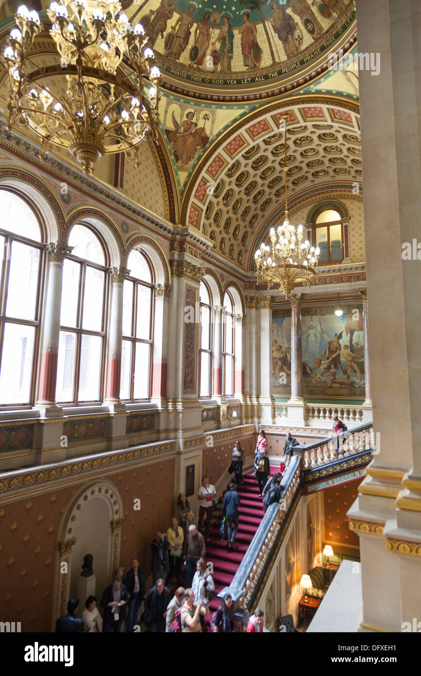 The Grand Staircase with its Sigismund Goetze murals in the Foreign and Commonwealth Office, Whitehall, London. Stock Photo