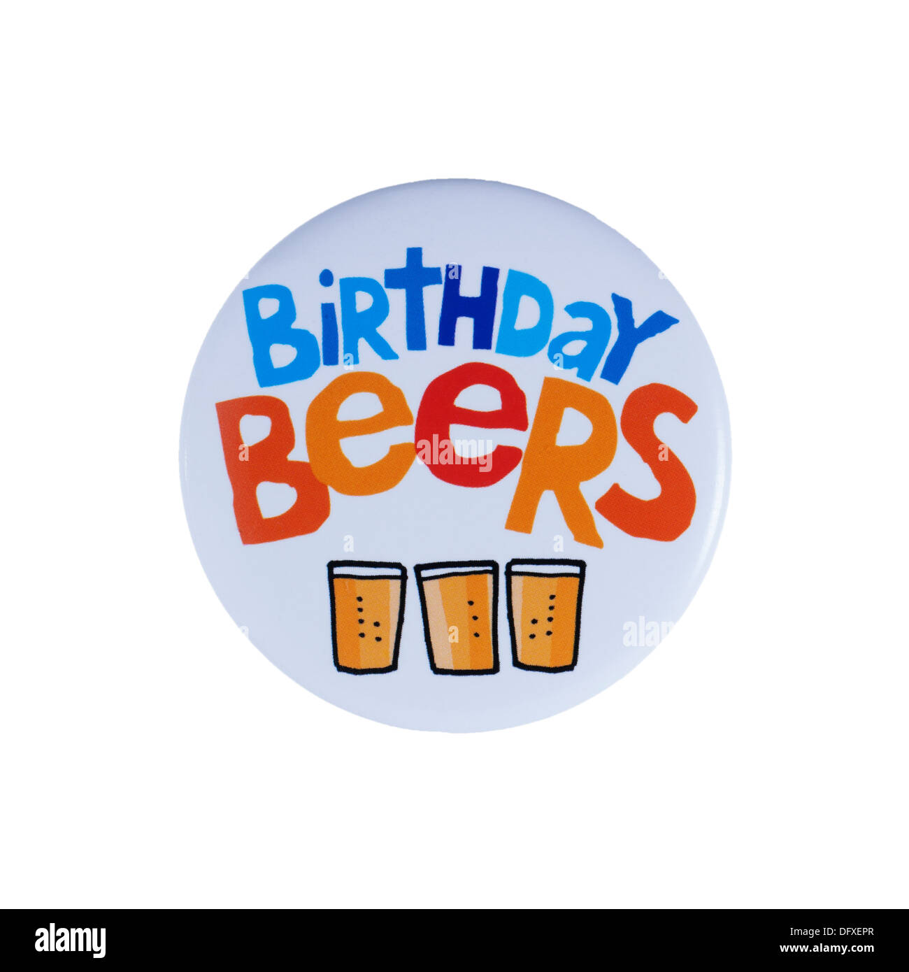 A Birthday badge on a white background - Stock Image