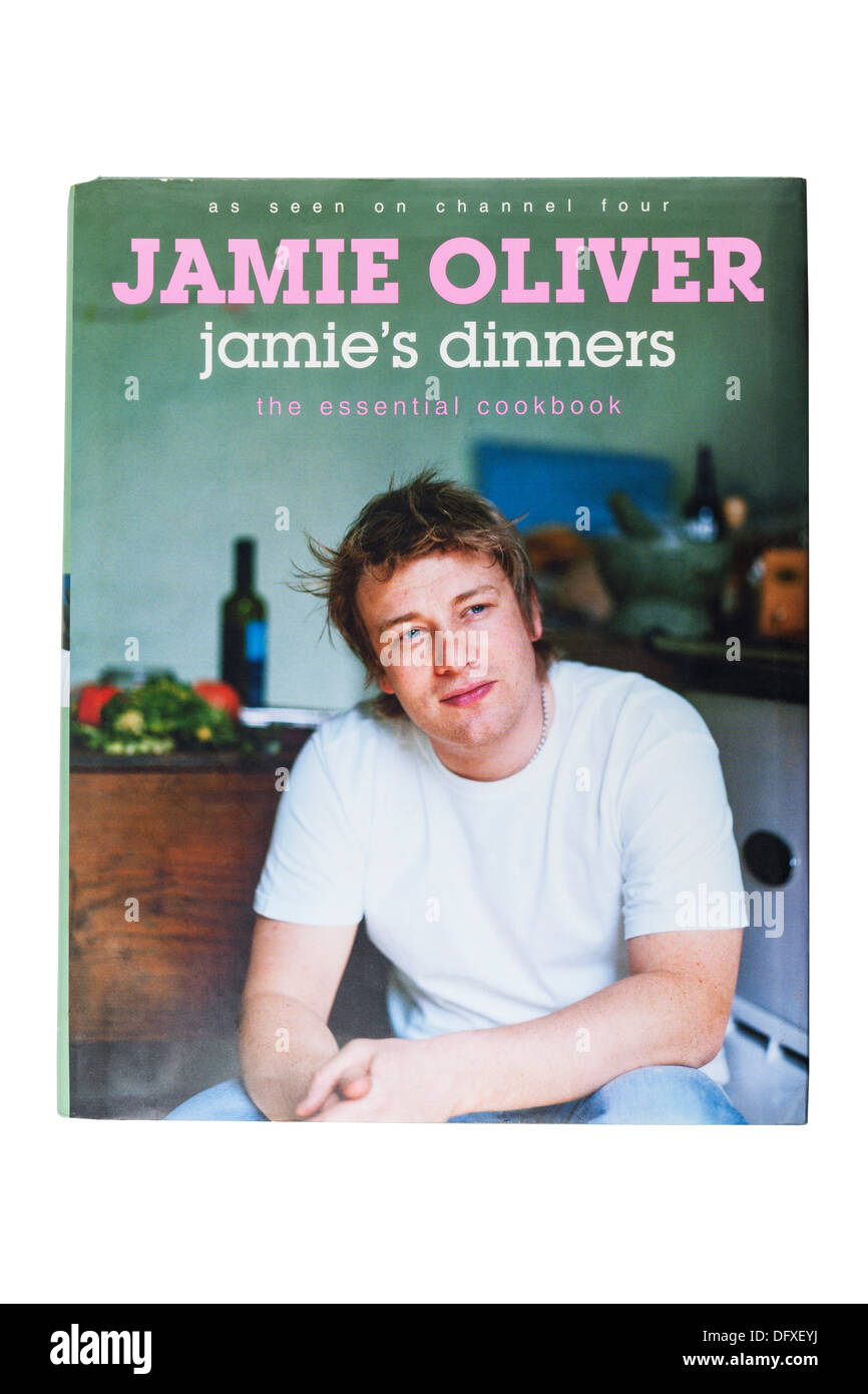 The Jamie's dinners cookbook book by Jamie Oliver on a white background - Stock Image