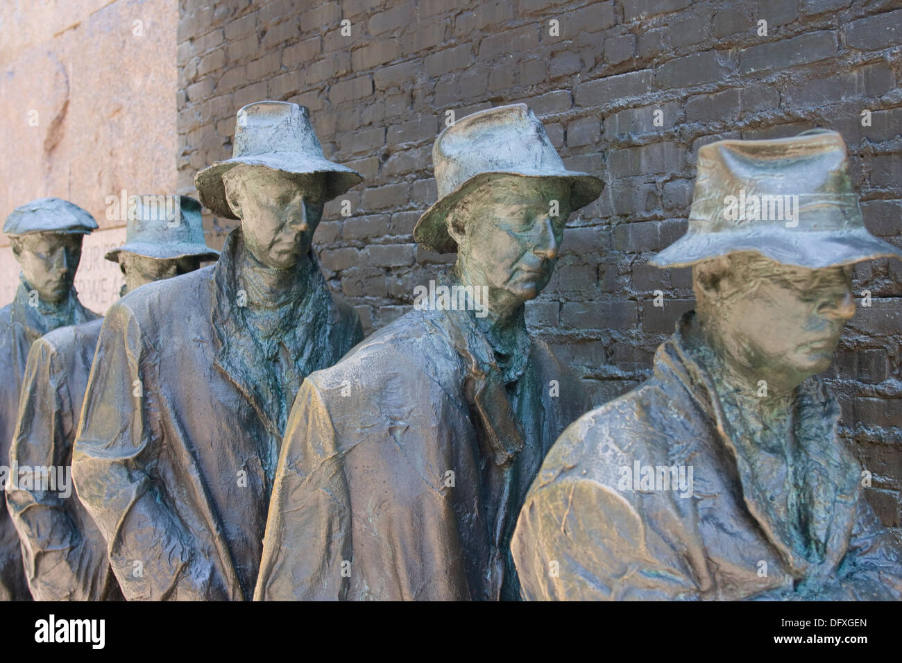 Example of a Depression line from depression era United States (Roosevelt Memorial, Washington, DC) - Stock Image