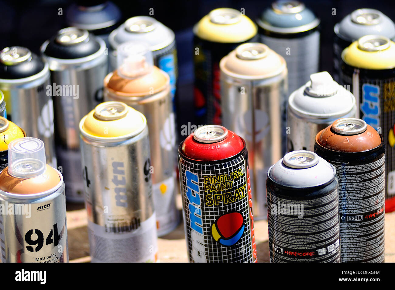 Aerosol cans to paint graffiti - Stock Image