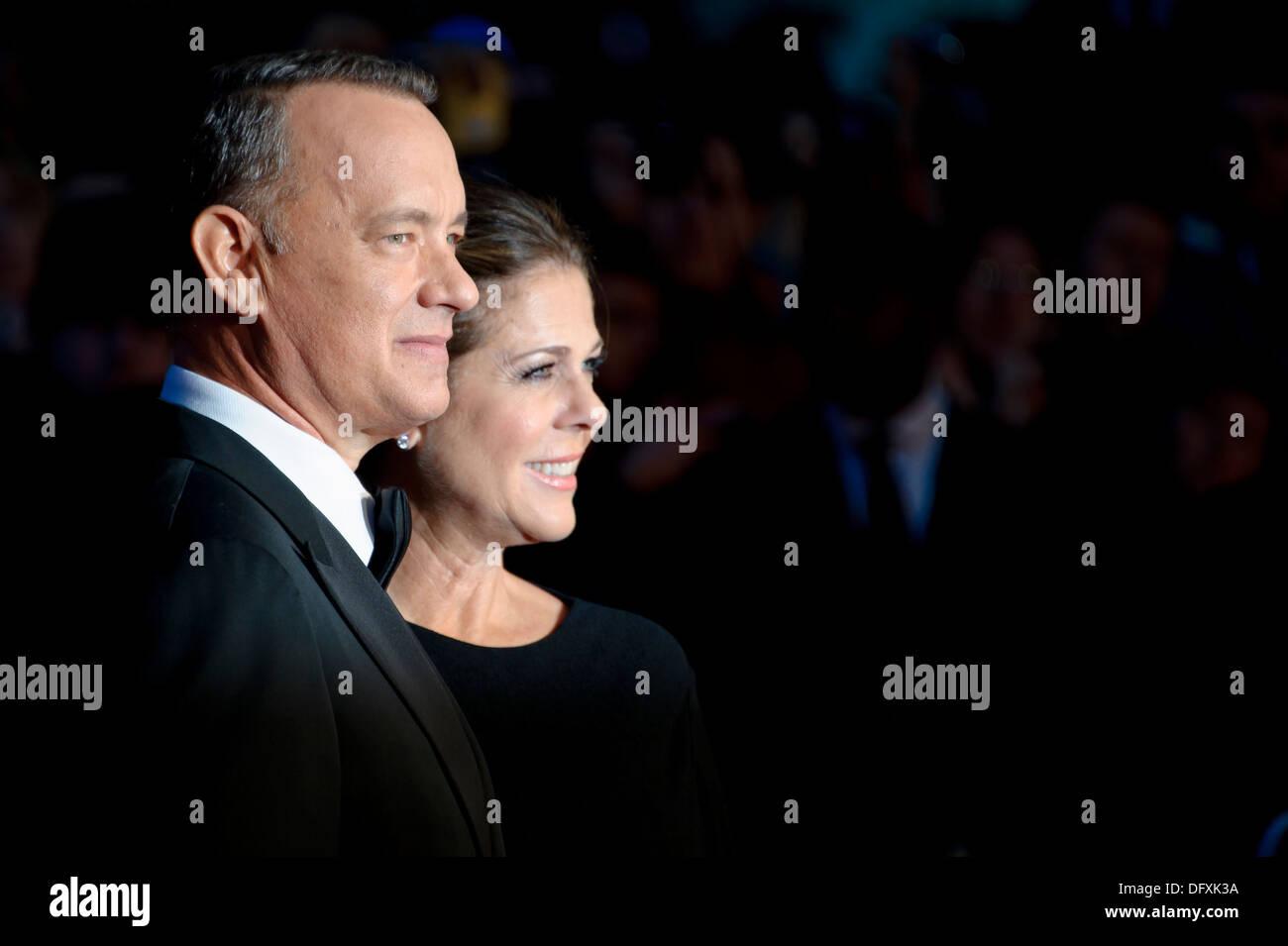 U.S actors Tom Hanks and Rita Wilson arrive for the BFI London Film Festival European Premiere of Captain Phillips. - Stock Image