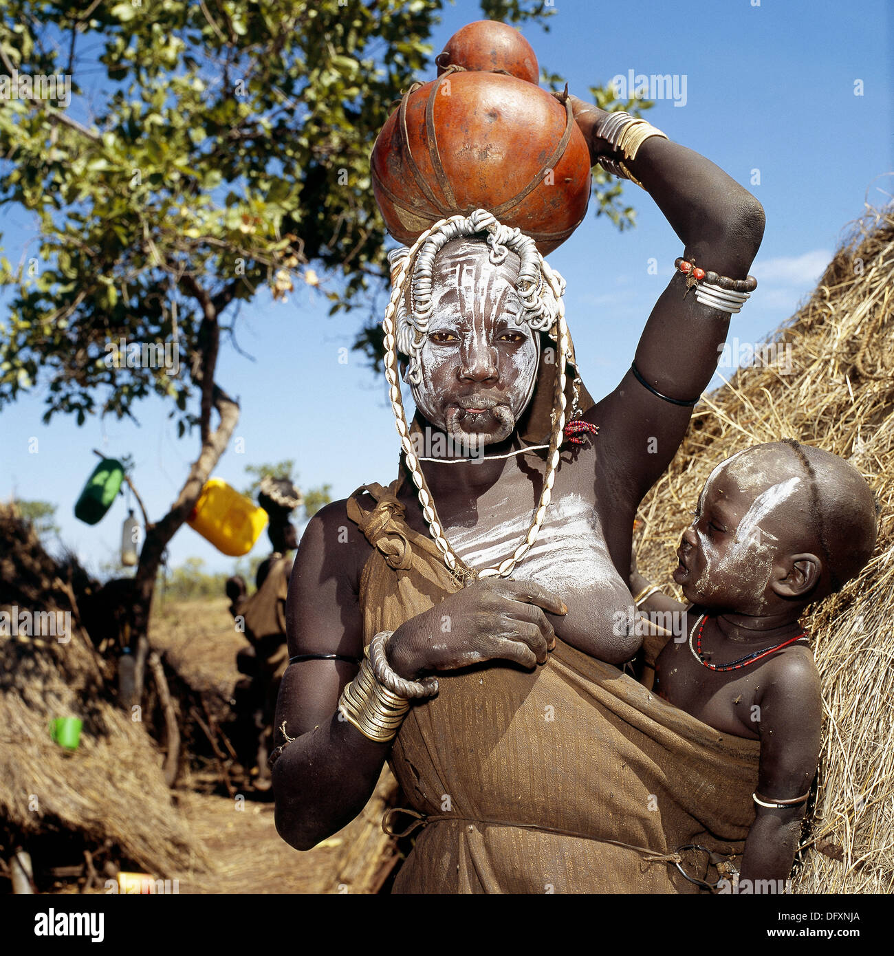 Woman. Mursi tribe. Ethiopia. - Stock Image