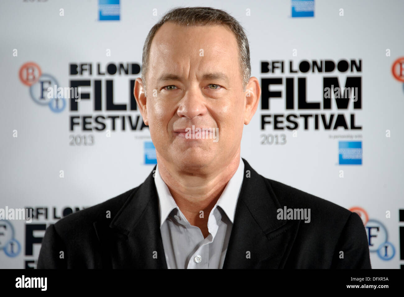 U.S actor Tom Hanks arrives for the BFI London Film Festival Captain Phillips Photocall at a central London cinema. - Stock Image