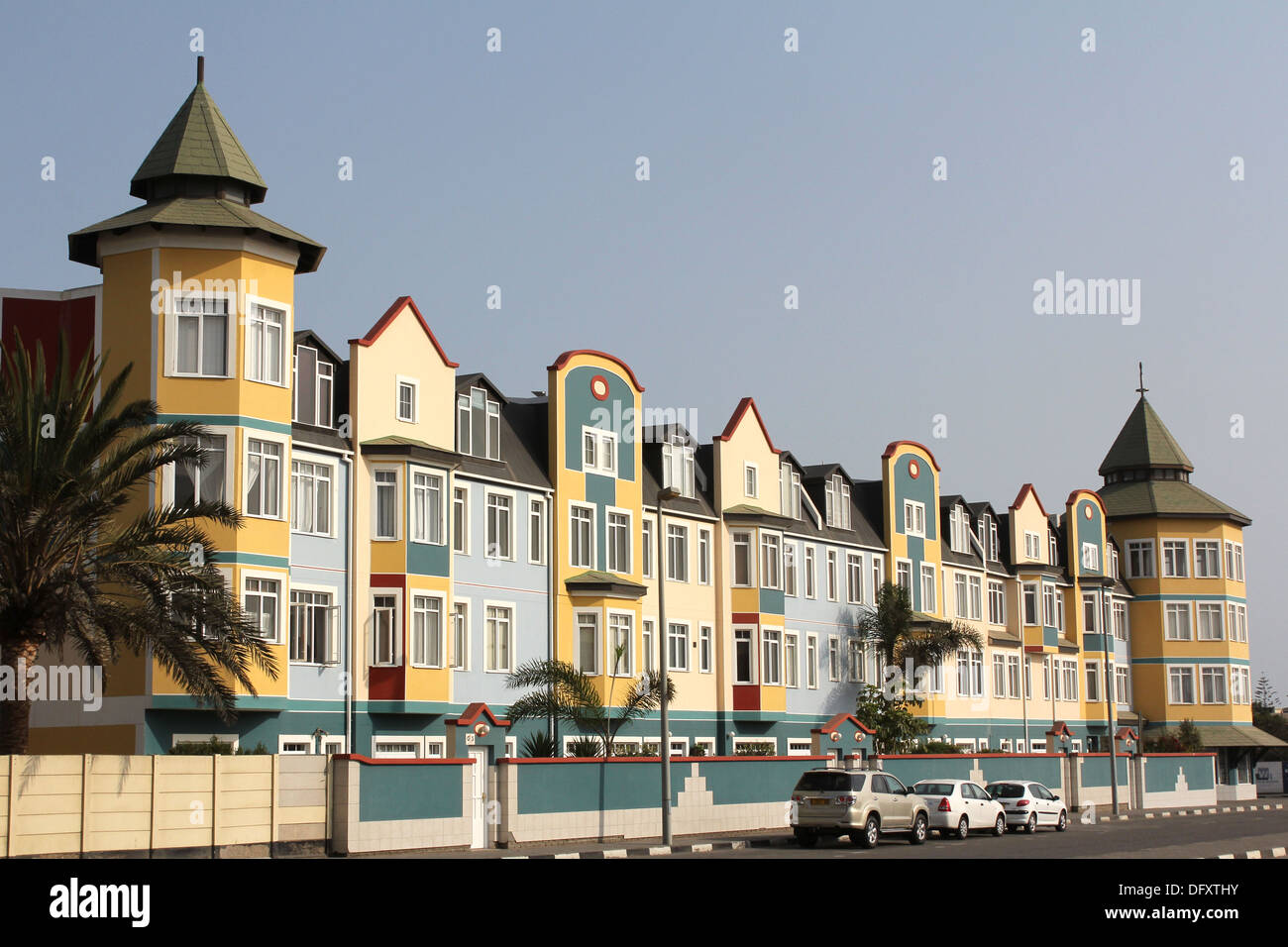 Block of German colonial buildings in Swakopmund,Namibia. - Stock Image