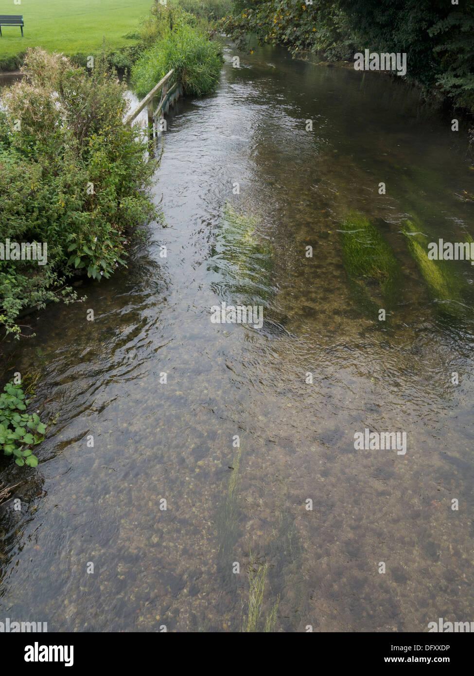 River Wye a Chilterns chalkstream, Bourne End, Bucks UK - Stock Image