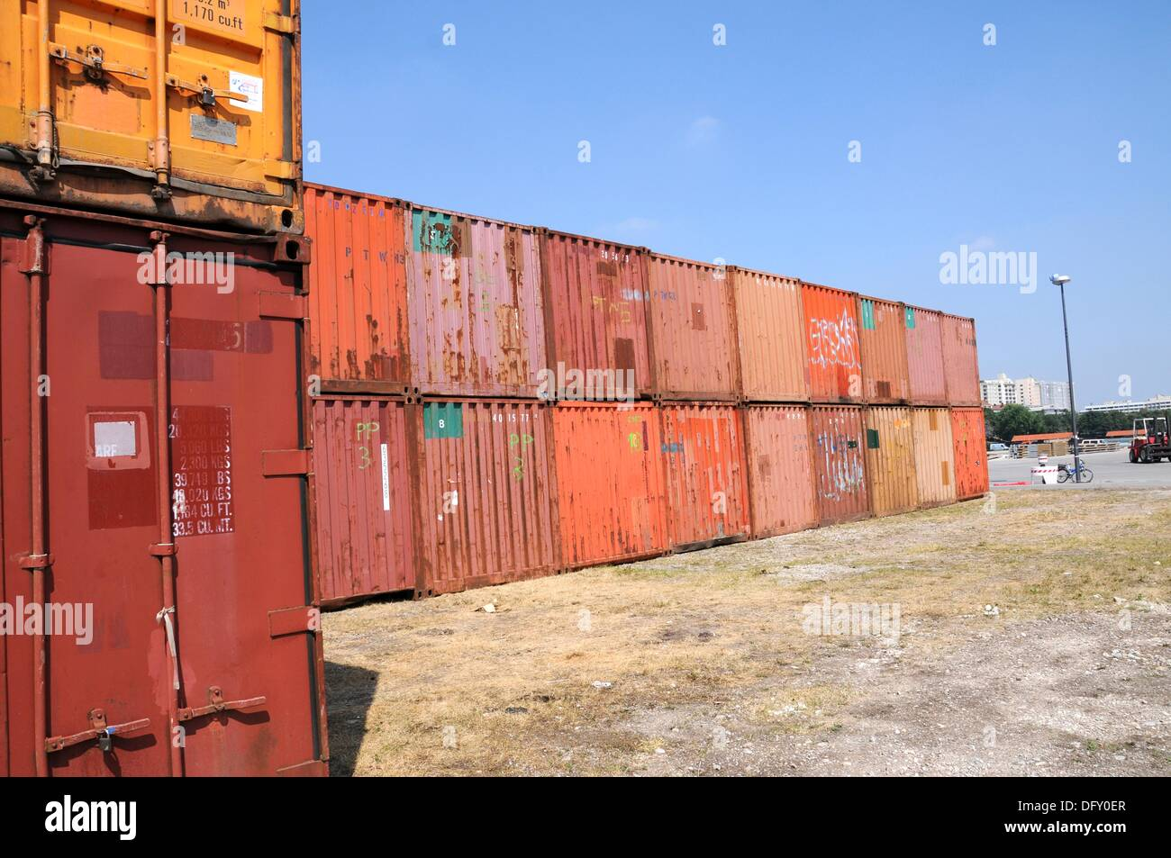 Colorful Container Transport in Munich - Stock Image