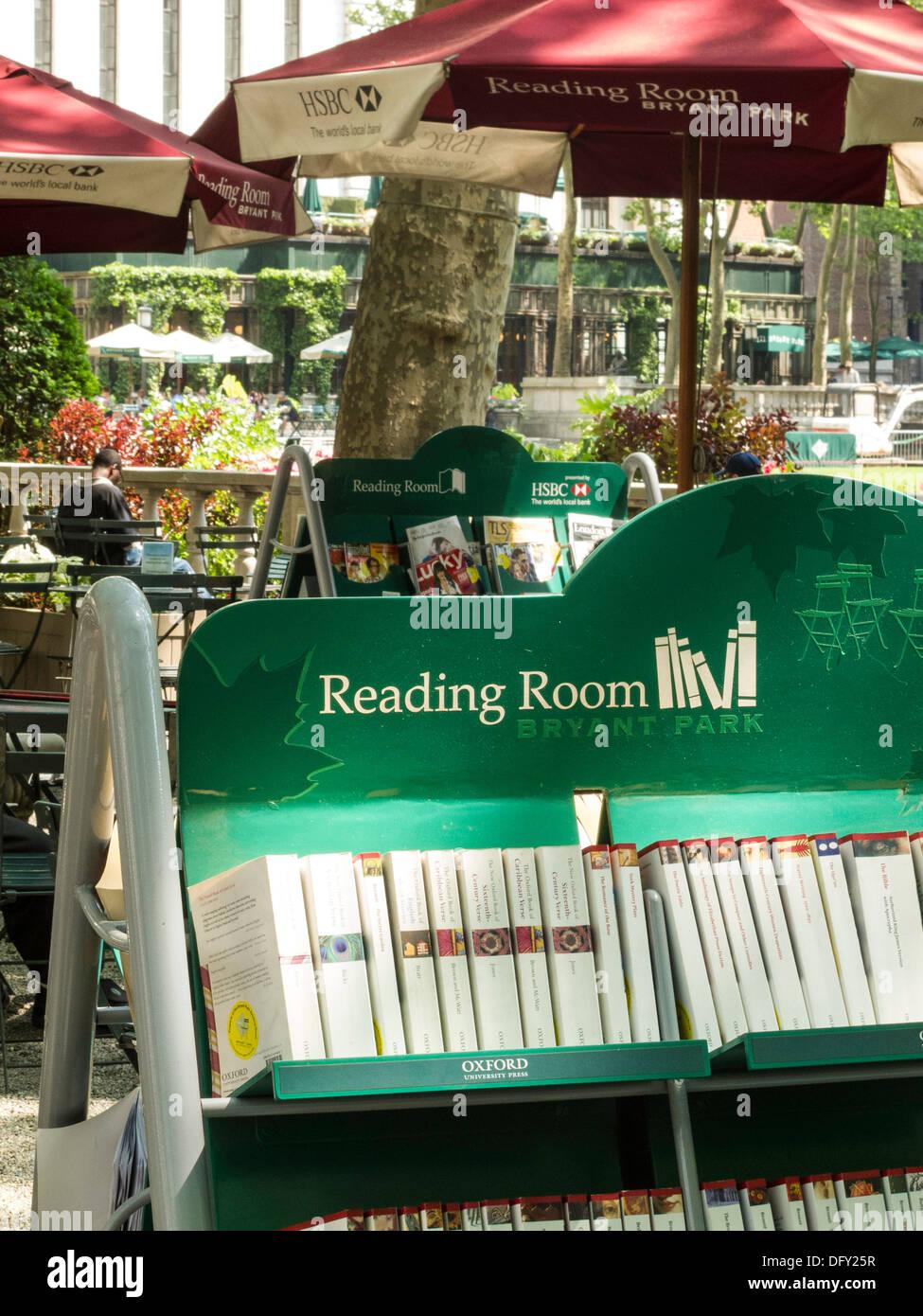 Outdoor Reading Room, NYPL, Bryant Park, NYC Stock Photo
