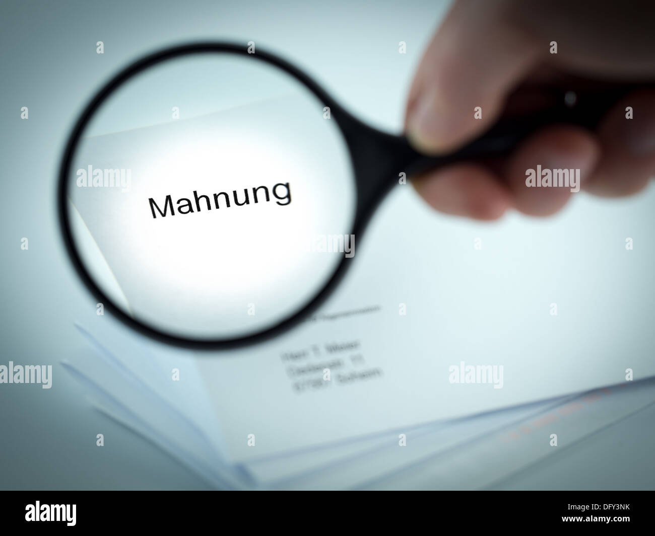 Cover letter with the word Mahnung in the letterhead - Stock Image