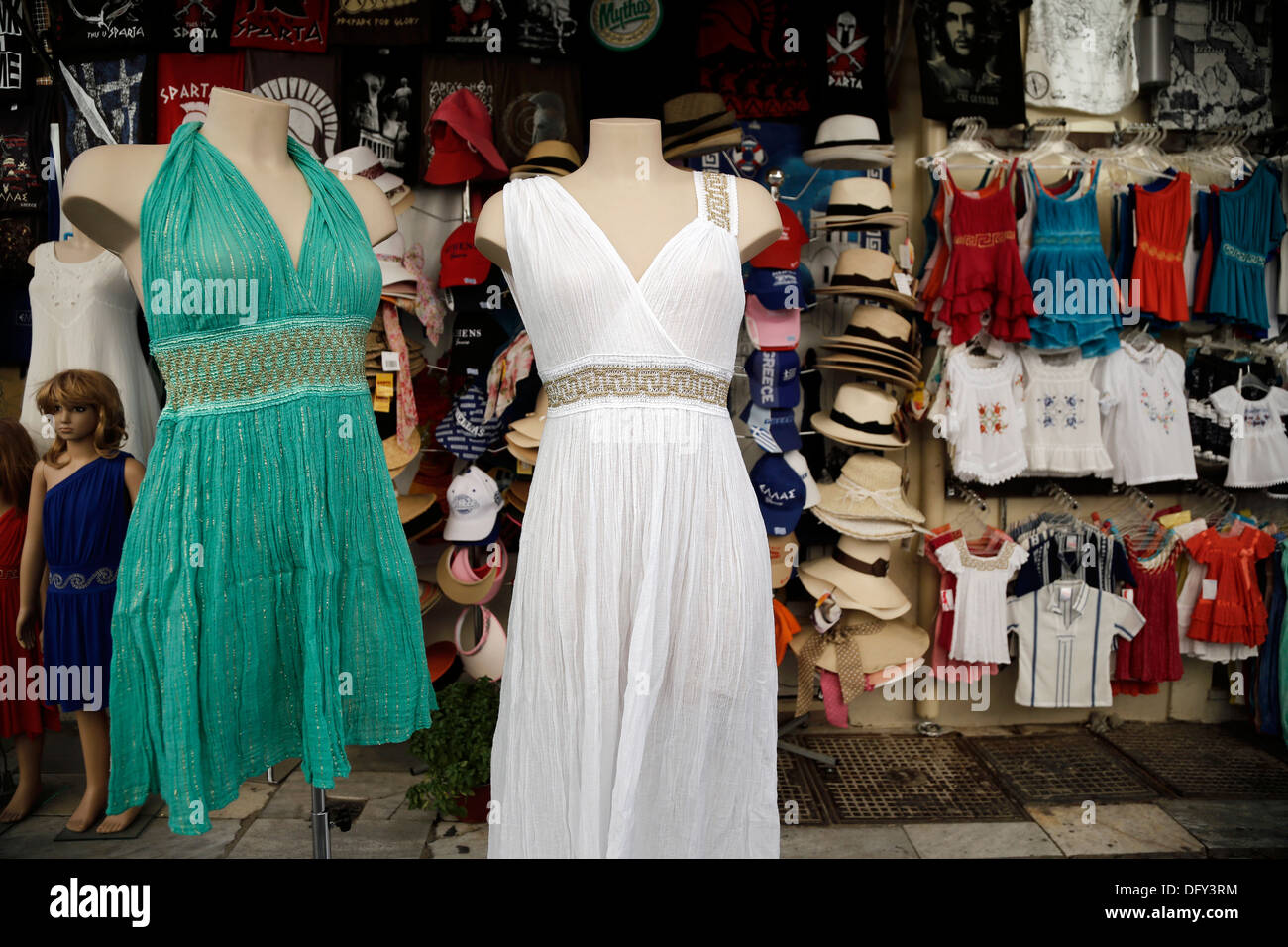 Ancient Greek Style Dresses At Souvenirs Shop In Plaka Athens Stock Photo 61446664 Alamy