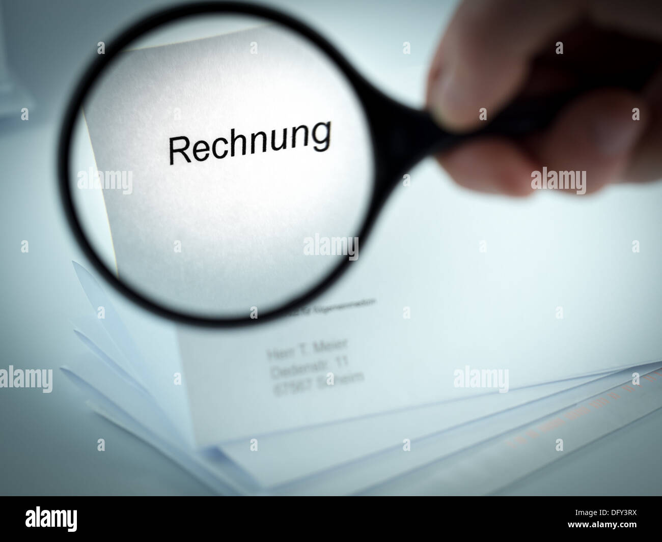 Cover letter with the word Rechnung in the letterhead - Stock Image