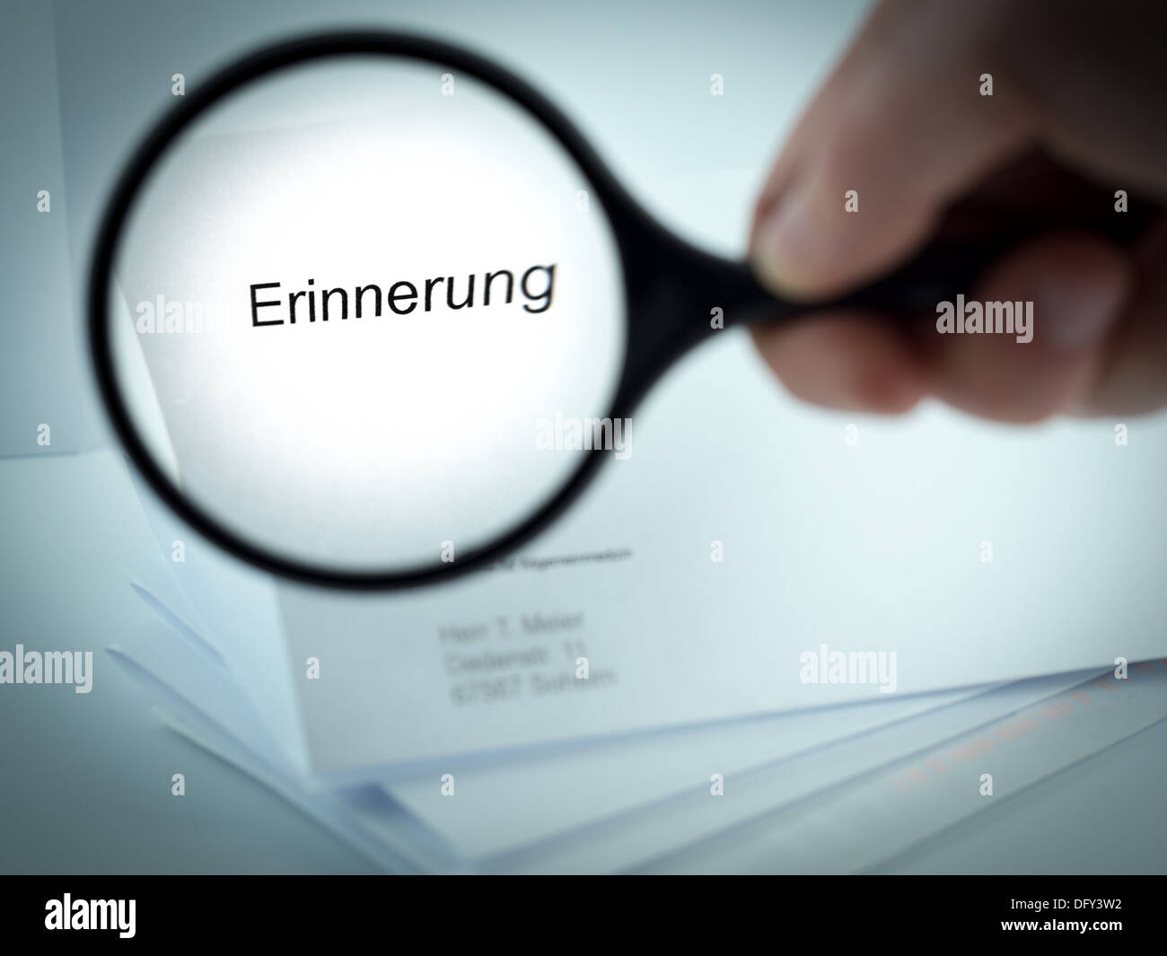 Cover letter with the word Erinnerung in the letterhead - Stock Image