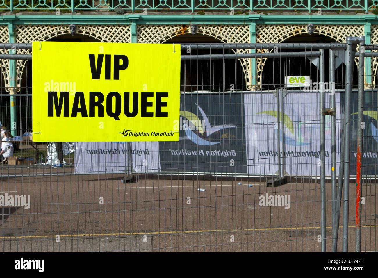 VIP area at the end of the Brighton Marathon. - Stock Image