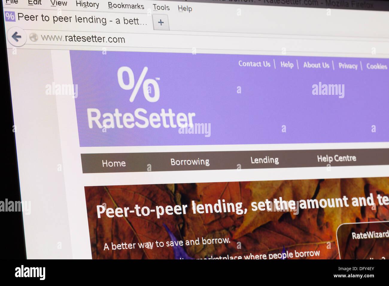 Screenshot of the ratesetter homepage - Stock Image