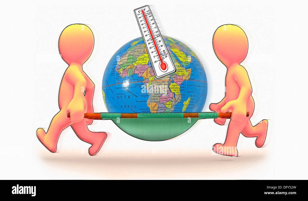 Globe on Stretcher, Concept, Global warming - Stock Image