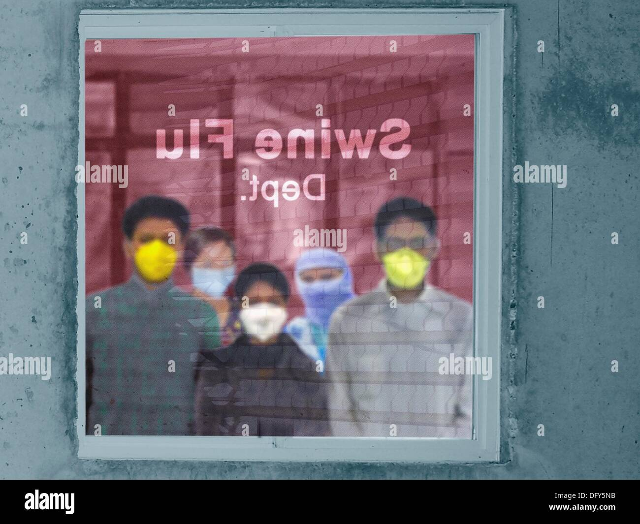 People outside Swine Flu department in a hospital, H1N1 - Stock Image
