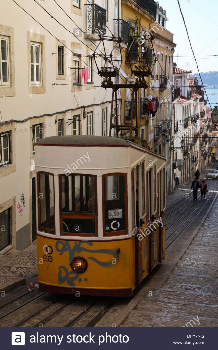 Yellow Tram On The Bica Lift Lisbon Portugal Stock Photo 61449740